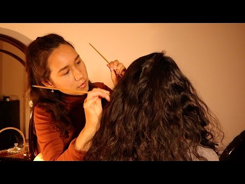 [ASMR] Real Person Scalp Check with Sticks, Neck & Shoulder Chinese Acupoint Massage with Gua Sha