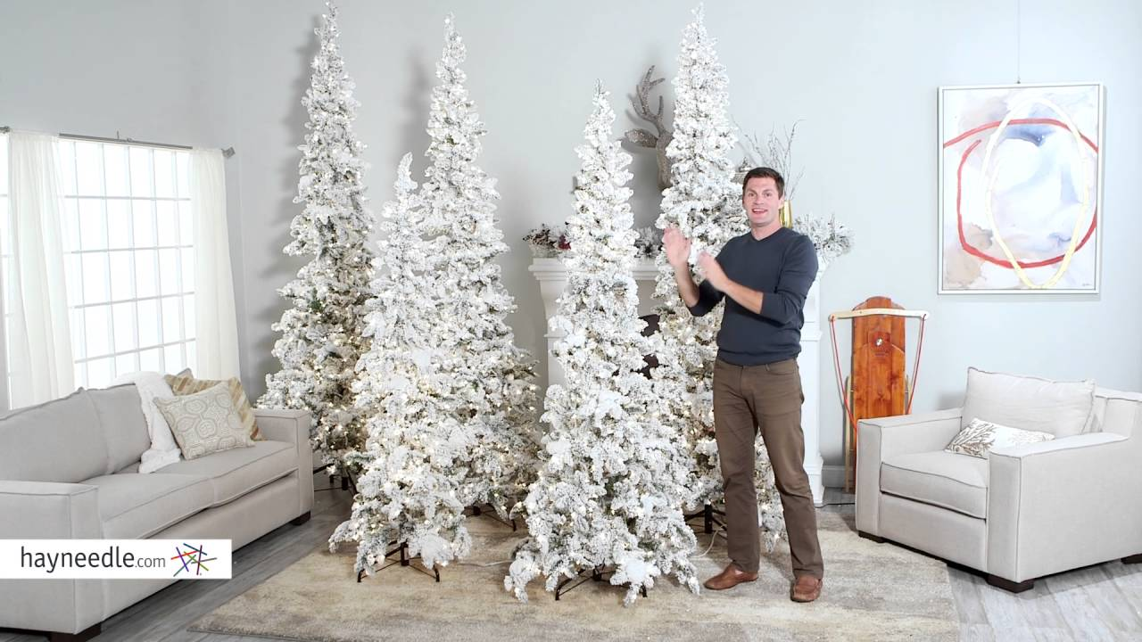 narrow flocked austin pine pre lit slim christmas tree product review video