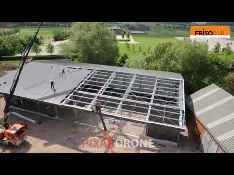 A steel industrial building Construction by an aerial drone - Frisomat