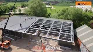 Construction Of A Steel Industrial Building Filmed By An Aerial Drone