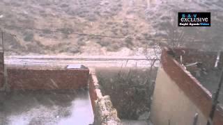 عاصفة ثلجية تضرب مدينة تالة في الوسط الغربي التونسي