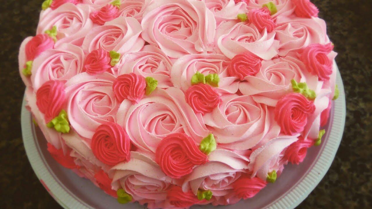 Decoraç u00e3o Bolo com Rosas ( Live) YouTube -> Decoração De Bolo Com Flor Natural
