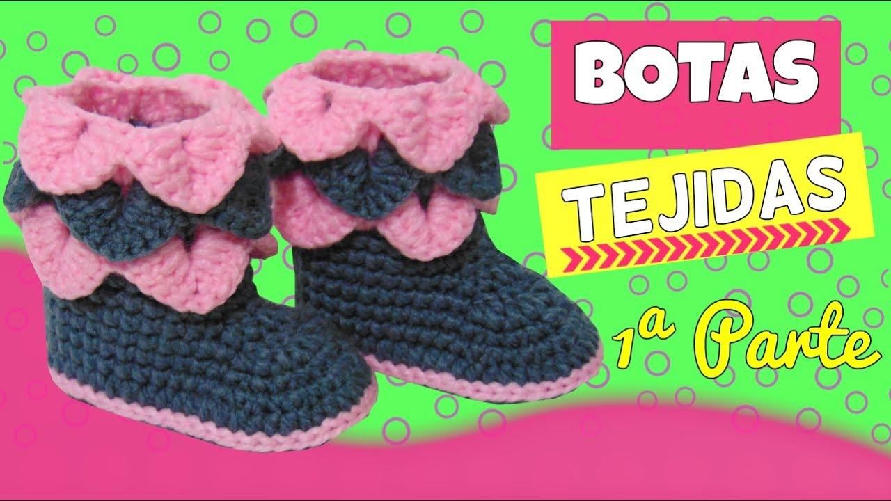 Botas tejidas a crochet con punto cocodrilo | parte 1/2 - YouTube