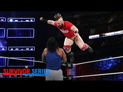 Thumbnail: Sheamus launches an attack from the top rope against The Usos: Survivor Series 2017 (WWE Network)