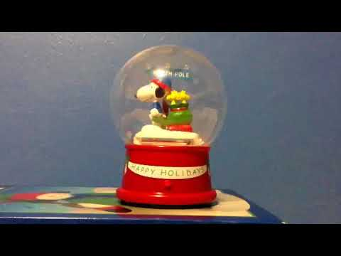 Gemmy Snoopy Snow Globe And Red spinning snowflake snowman