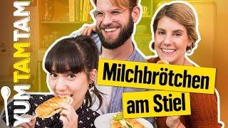 MILCHBRÖTCHEN AM STIEL // Mit Bacon & Cheddar und Schokolade & Marshmallows // #yumtamtam