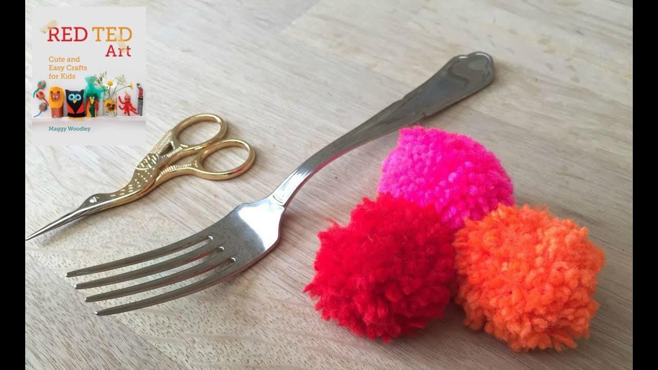 how to make fork pom poms youtube. Black Bedroom Furniture Sets. Home Design Ideas
