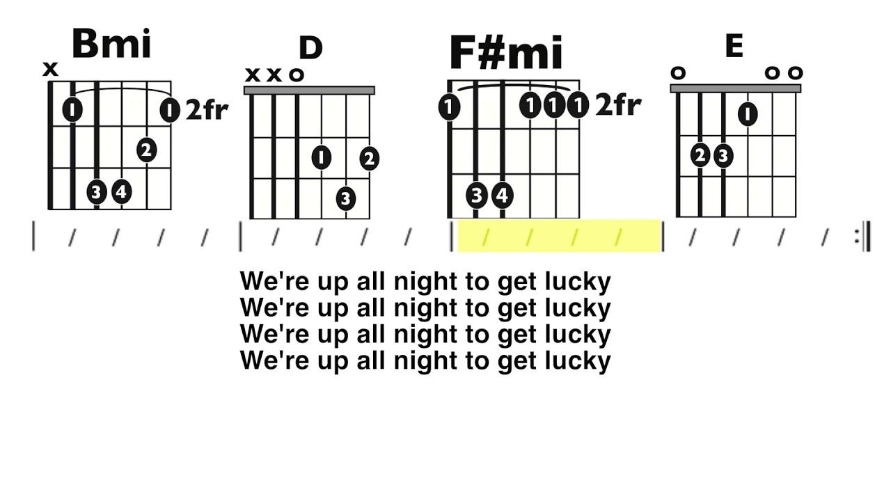 Get Lucky Daft Punk Guitar Chord Lyric Play Along Youtube