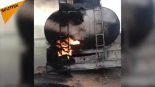"""بالفيديو والصور: لحظة احتراق معدات ثقيلة لـ""""داعش"""" بعد القصف السوري"""