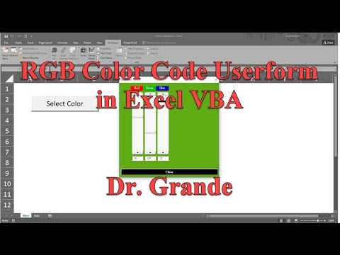 RGB (red, green, blue) Color Code Adjustment Userform in Excel VBA