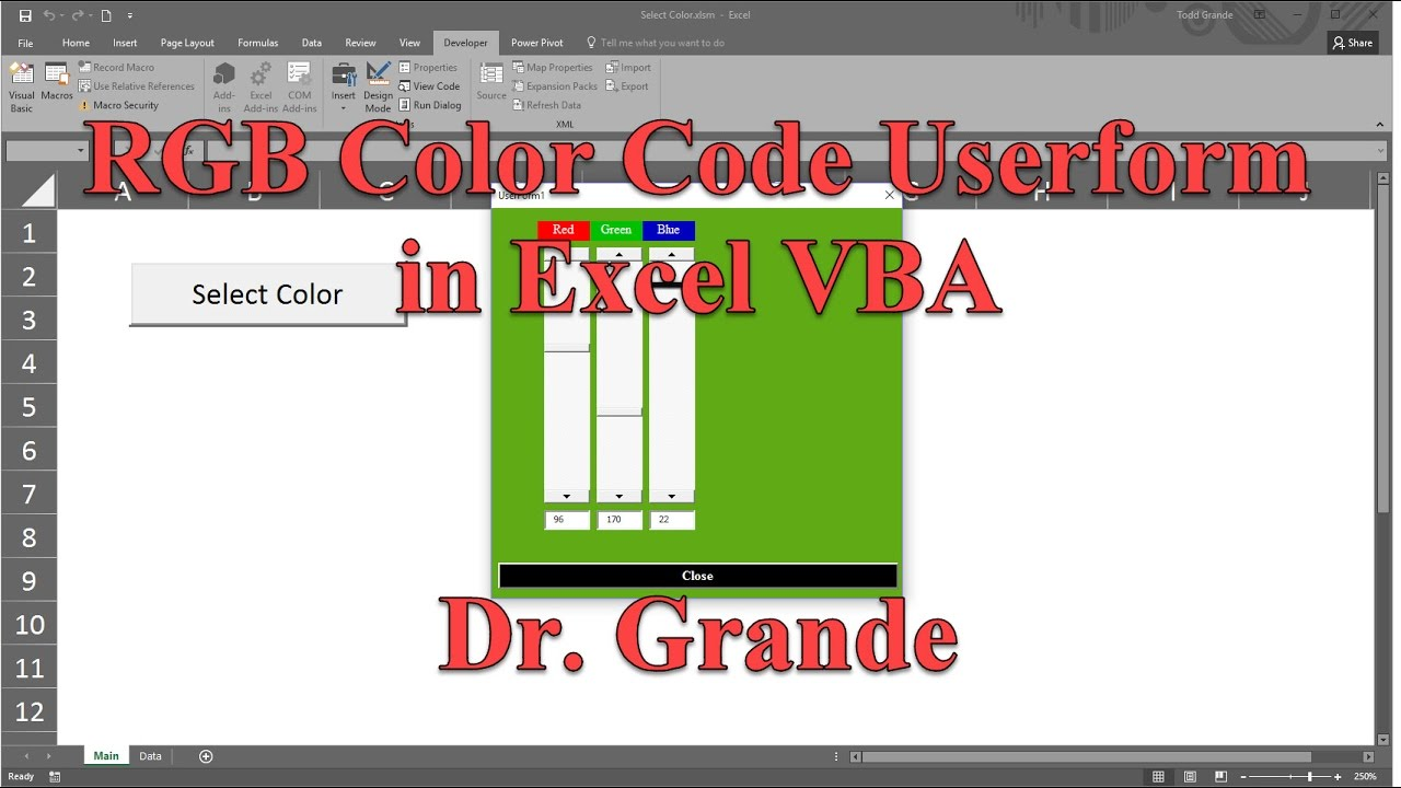 Rgb Red Green Blue Color Code Adjustment Userform In