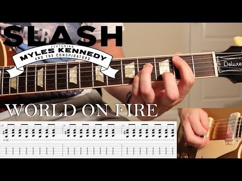 'World On Fire' by Slash, Myles & Co – GUITAR LESSON W/ TABS & BACKING TRACK **SLOW TEMPO**