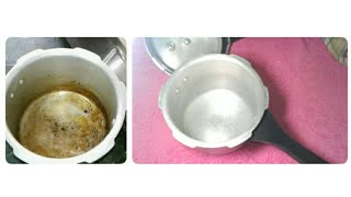 How to Clean a Stained Pressure Cooker / How to Clean a Burnt Pan / How to Clean Aluminium Utensils