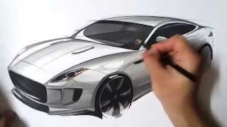 "온스케치 TV 자동차스케치 - ""Jaguar C-X16 Bird eye view Sketch (Color Pencil + AD Marker)"""
