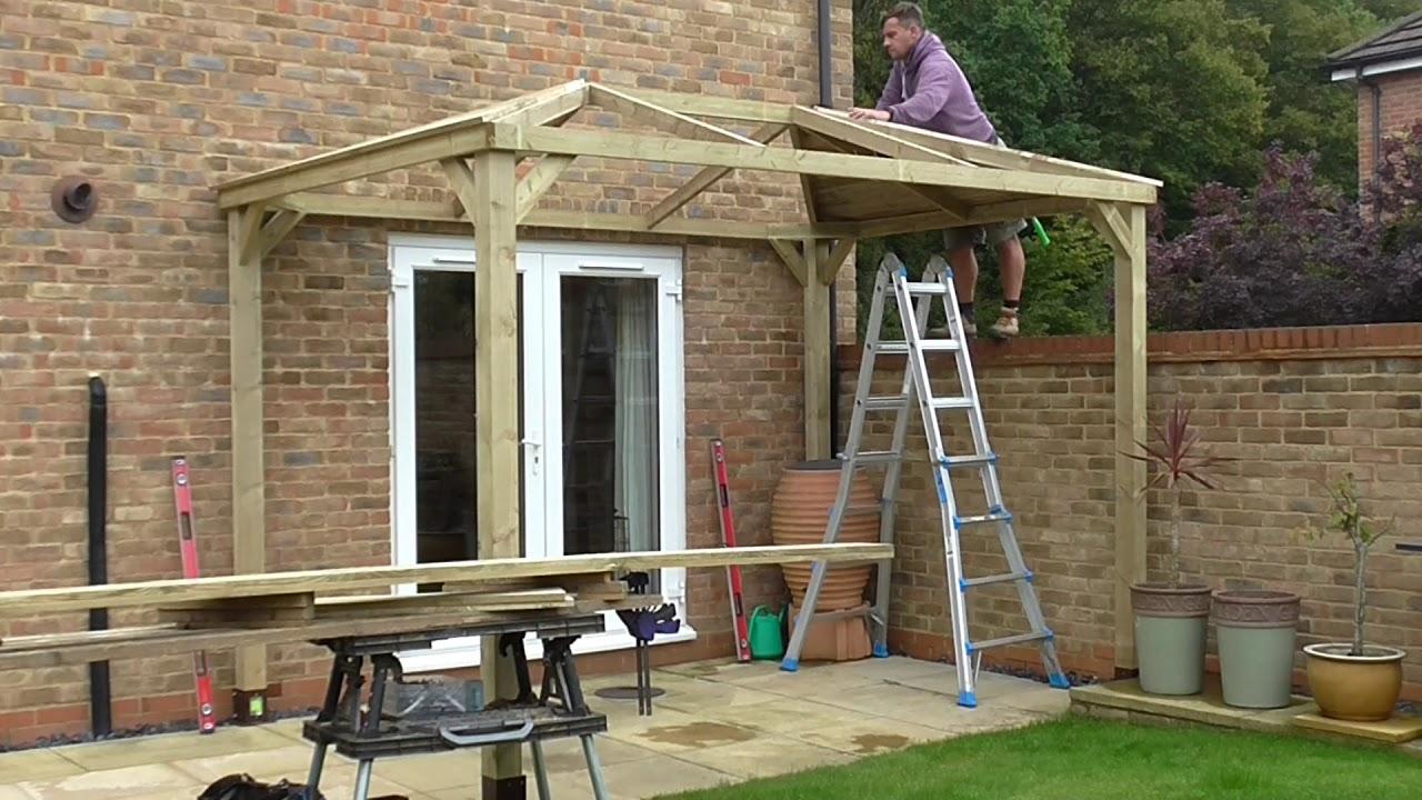 Bishops Stortford Gazebo Build with Felt Tile Roof - YouTube