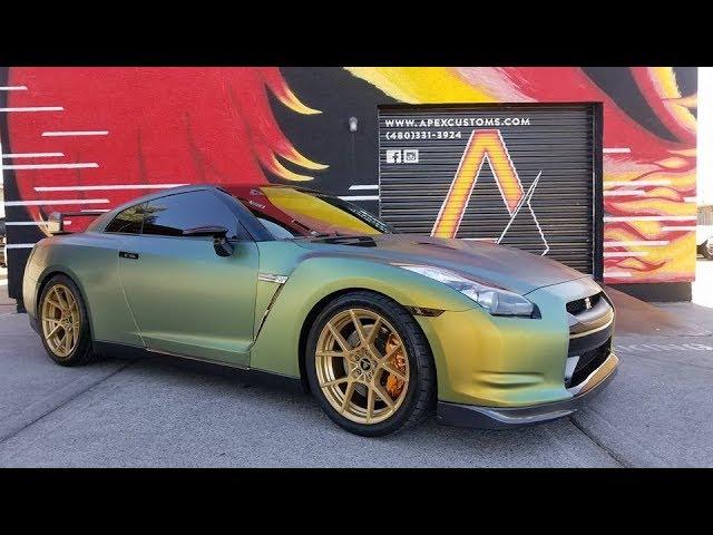 Nissan GT-R Fresh Spring Colorshift Vinyl Wrap Rotiform Wheels Nitto Tires