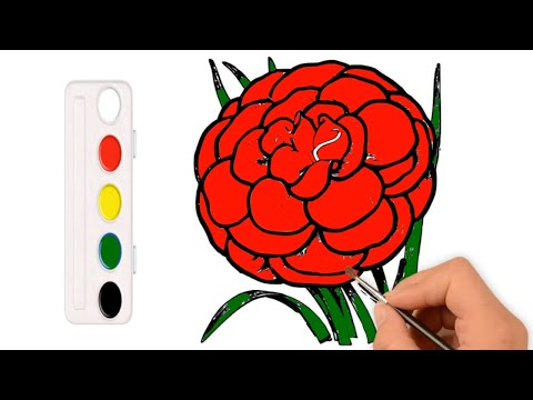 coloring-flower-with-watercolors- -how-to-draw-a-carnation-flower