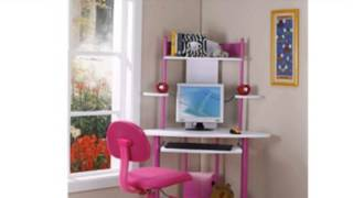 Pink Finish Corner Workstation Kids Children's