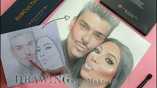 Mario & Kim   Drawing with makeup on paper ! FaceChart by Liza Kondrevich