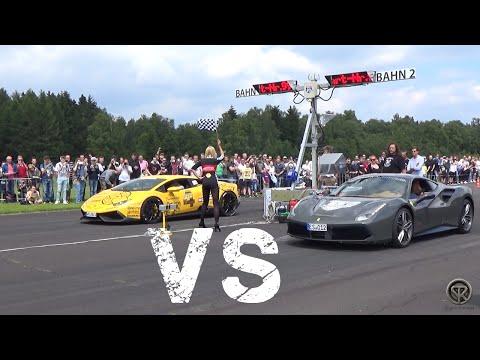 Ferrari 488 GTB VS Lamborghini Huracán Novitec Torado - DRAG RACE!