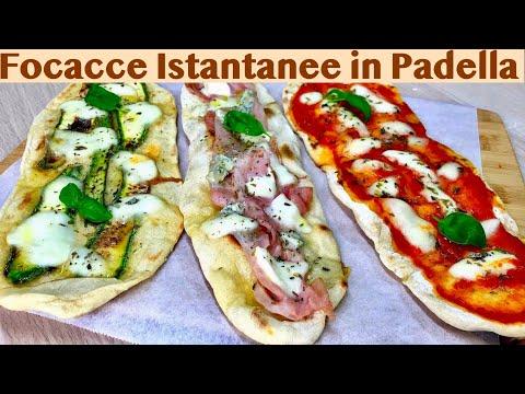 FOCACCE ISTANTANEE IN PADELLA ricetta facile e veloce FOCACCIA FAST IN THE PAN