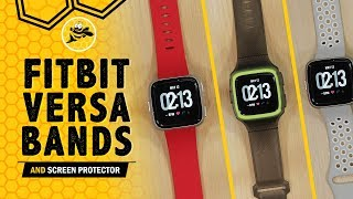 Fibit Versa Bands And Tempered Glass Screen Protector