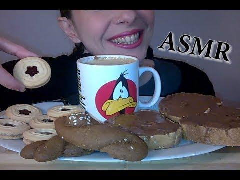 ASMR Dessert: Hazelnut Praline, Vanilla & Raspberry Biscuits, Wine Cookies, Coffee (WHISPERING)