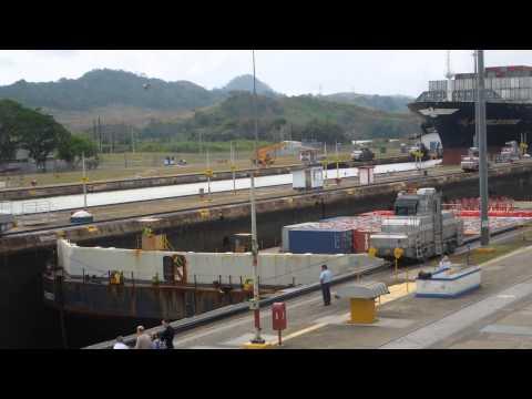 American Trader cargo barge in Miraflores Locks, Panama Canal