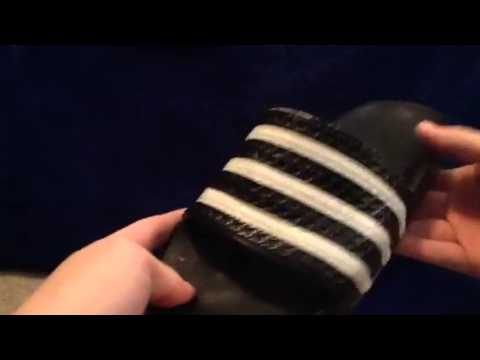 15bf3e098 Adidas Adilette Sandals (black white) - YouTube