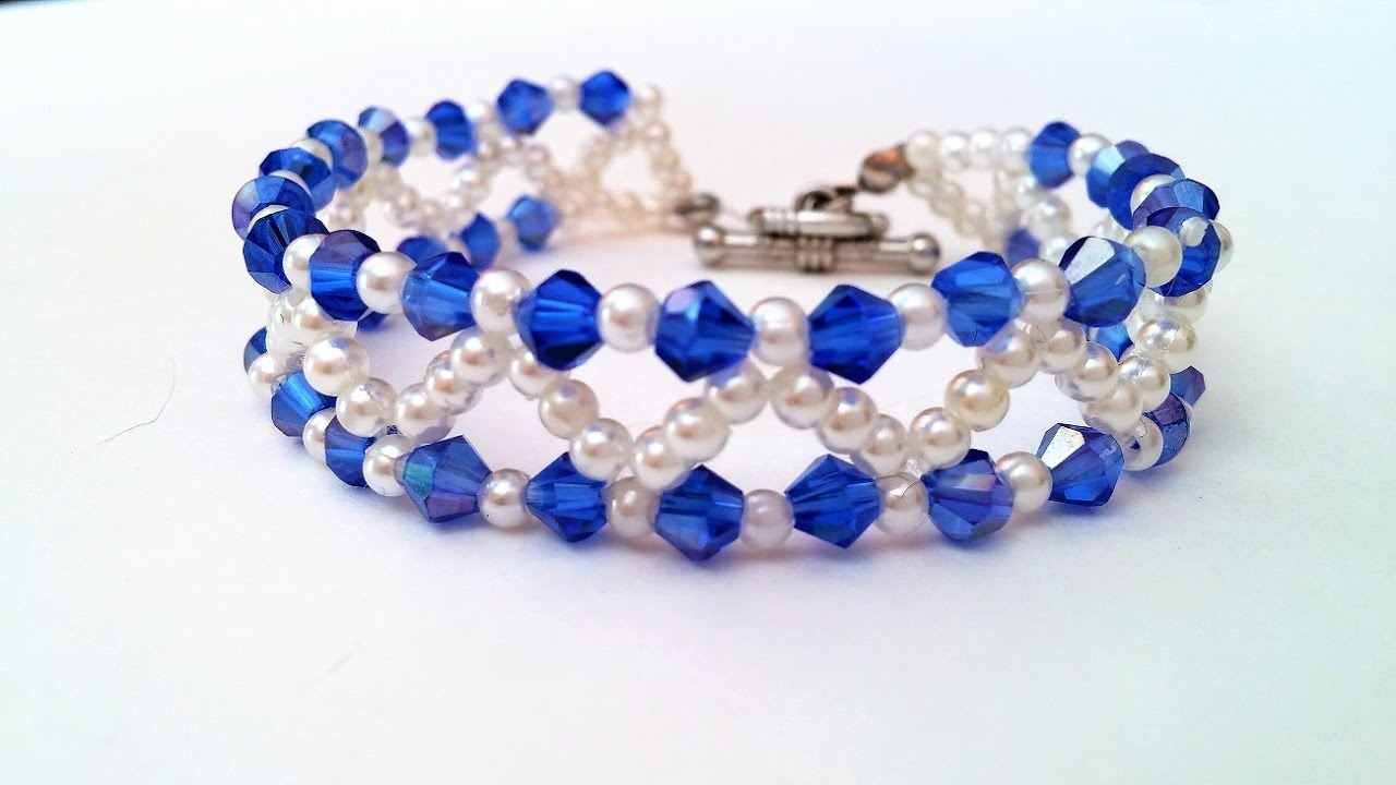 Easy Tutorial On Making A Cute Blue And White Bead Bracelet For Spring Season