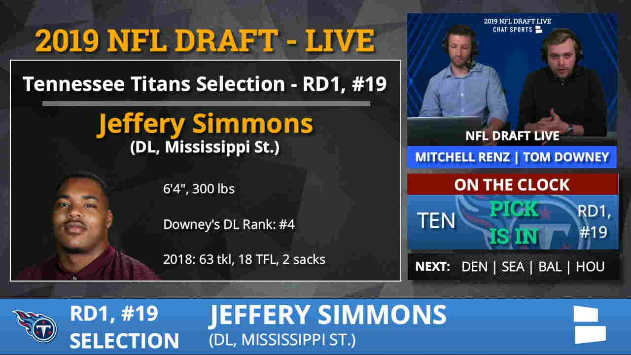 best website 7b3c6 c964a Tennessee Titans Pick DT Jeffrey Simmons From MSU With Pick #19 In 1st  Round of 2019 NFL Draft
