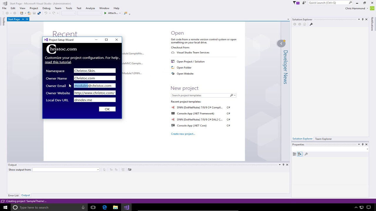 DNN 9 Series Video 15 - Skin/Theme project creation in Visual Studio ...
