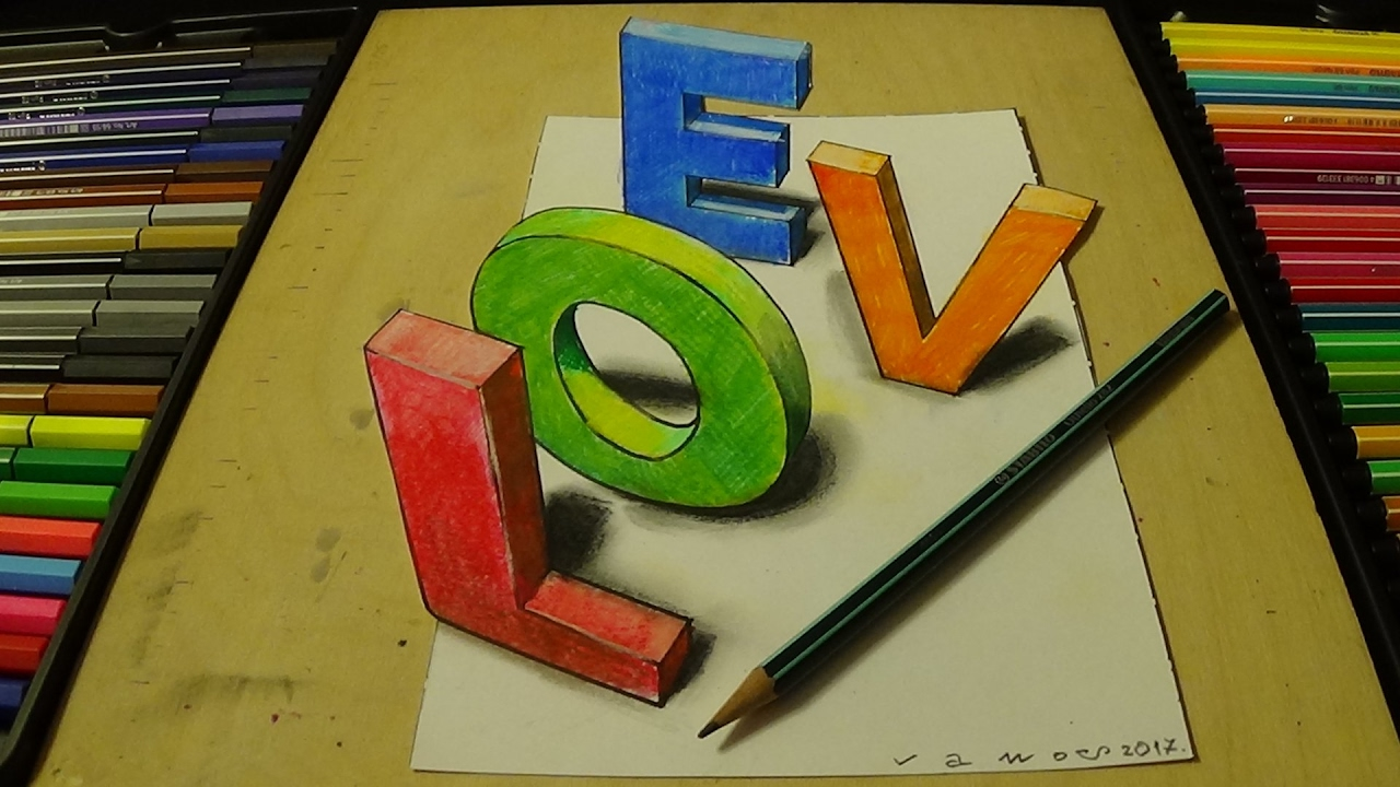 Coloring LOVE Letters - 3D Drawing and Coloring for Kids - YouTube