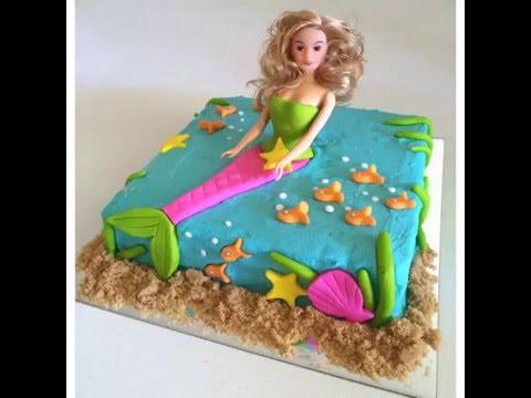 How to Make an Ocean Mermaid Birthday Cake YouTube
