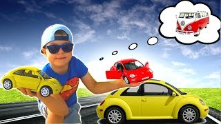 Timko Kid Doing Shopping in a Toy Store to Buy VW Bug Toy Cars | Funny Video for Kids