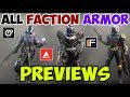 Destiny 2 All Faction Armor Previews Dead Orbit Future War Cult New Monarchy mp3
