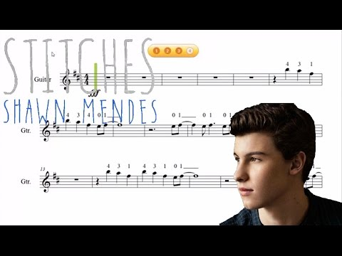 Shawn Mendes - Stitches - Partitura para Violín-GuitarraTutorial