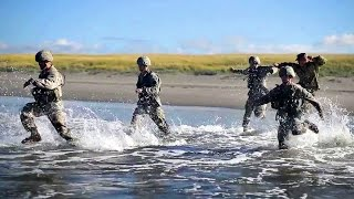 US Military Soldiers Battle Against Ocean Wave