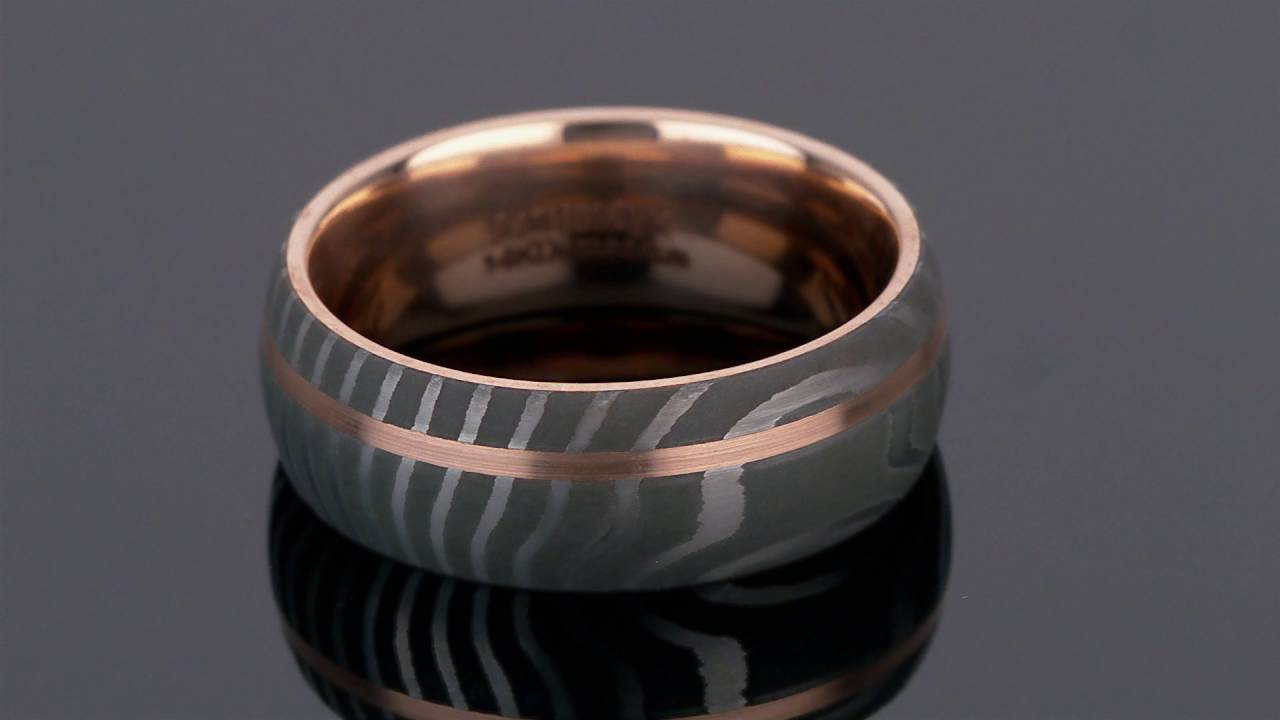 damascus steel gold 8mm domed wedding band