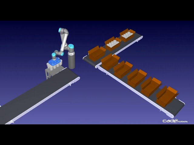 Simulación con RobotDK de un #cobot empaquetando productos lácteos.