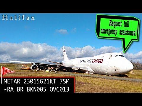 REAL ATC SkyLease Boeing B747 OVERRUNS THE RUNWAY at Halifax!