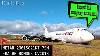 [REAL ATC] SkyLease Boeing B747 OVERRUNS THE RUNWAY at Halifax!