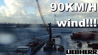 professional crane operator works in storm winds 75 90km h max mobile harbour container gopro