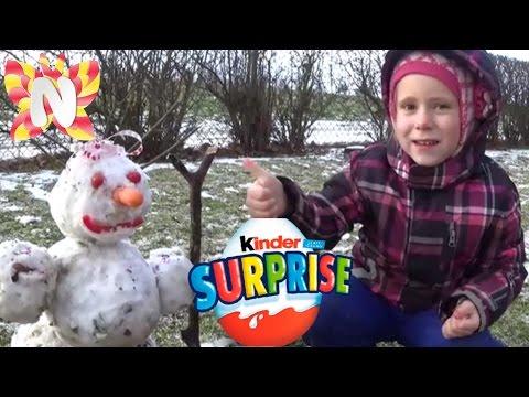 KINDER SURPRISE снеговик Николь ВЛОГ смешные видео Сюрприз Игрушки лепим снеговика Review лайфхаки