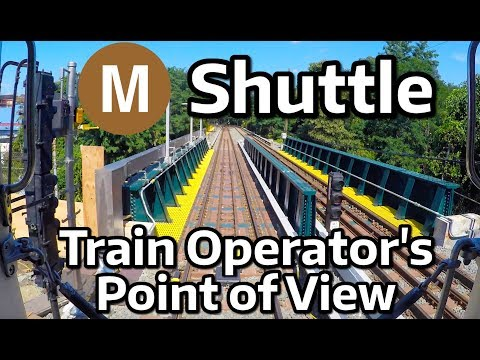 ⁴ᴷ NYC Subway Front Window View - A Round Trip on the M Shuttle