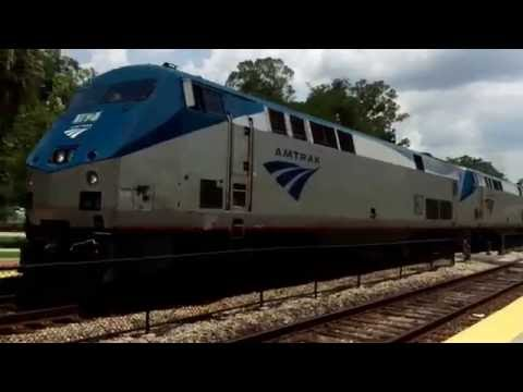 """Amtrak P098 Arrives and Departs Winter Park w/ P40+Viewliner """"Indianapolis"""" Dining Car w/Trainman#42"""