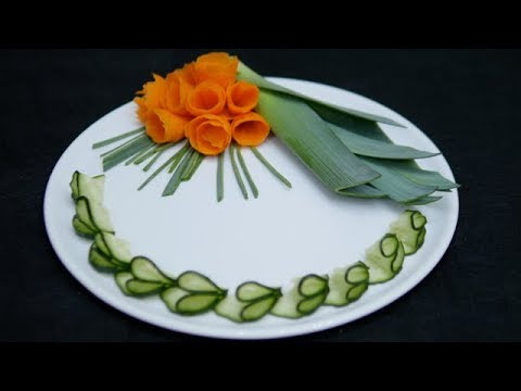 How to make Carrot Flowers | Carving Vegetables | Decoration with Cucumber
