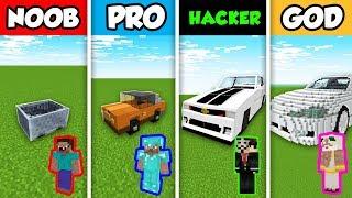 NOOB vs PRO vs HACKER vs GOD : SPORTS CAR BUILD CHALLENGE in Minecraft! (Animation)