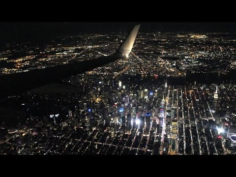Stunning Night View of Manhattan: American Airlines Flight AA 352 Landing in New York