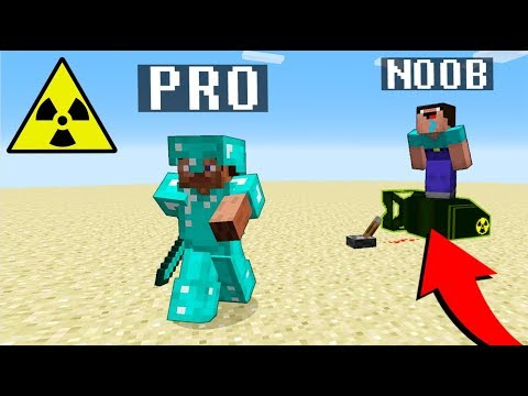 Minecraft Noob vs. Pro : NUKE BOMB TNT challenge nuclear explosion - Minecraft Battle - Florie